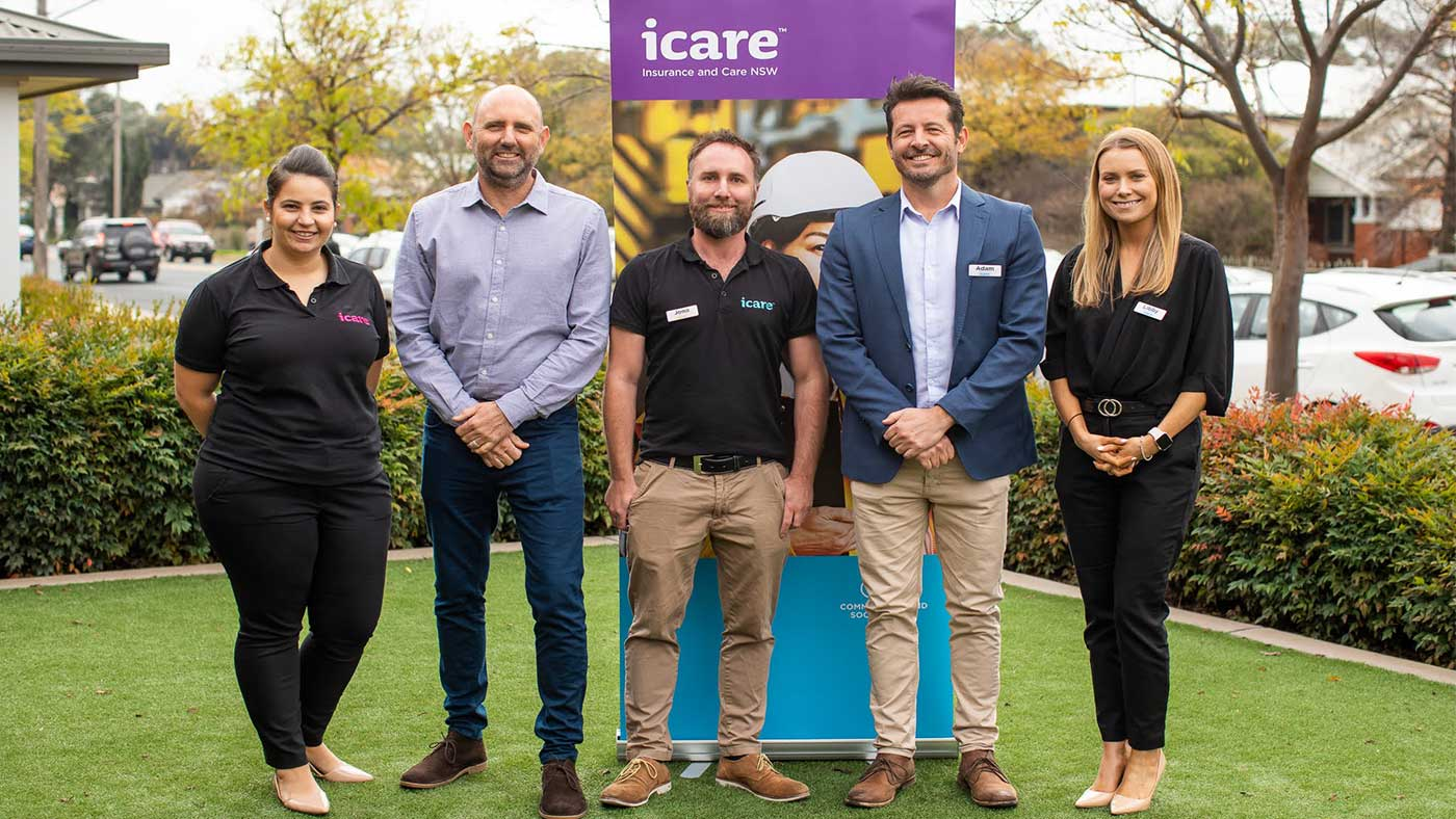 icare Mobile Engagement Team on the grass in Coffs Harbour