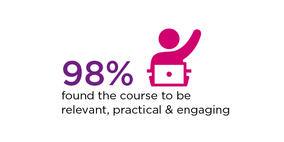 98 per cent found the course to be relevant, practical and engaging text and a graphic of a person in front of a laptop with their hand up.